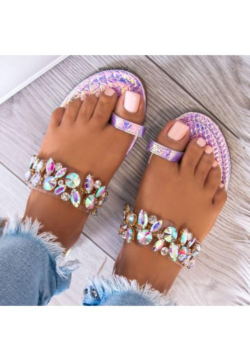 Sandałki Płaskie z Kryształkami Fioletowe Beatrice