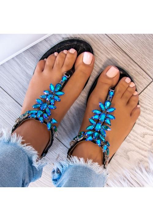 Sandałki Japonki z Kryształkami Czarne  Aida