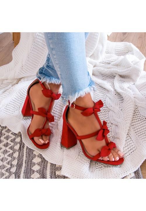 Sandałki na Słupku Zamszowe Czerwone Daphne
