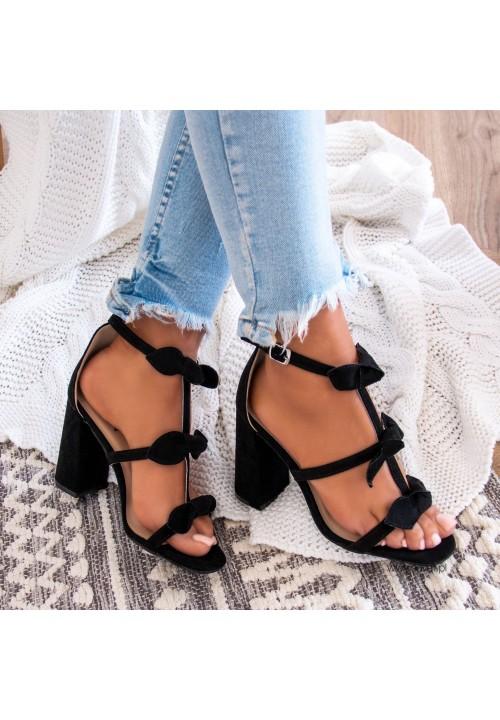 Sandałki na Słupku Zamszowe Czarne Daphne