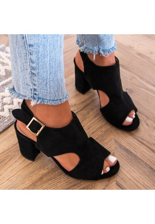 Sandałki na Słupku Zamszowe Czarne Julies