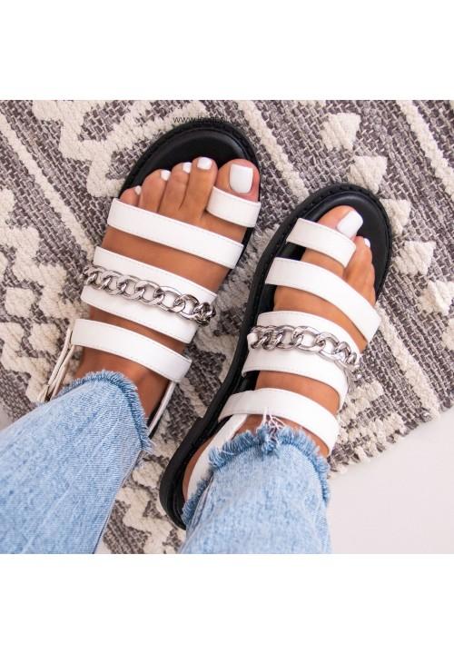 Sandałki Płaskie Białe Diane