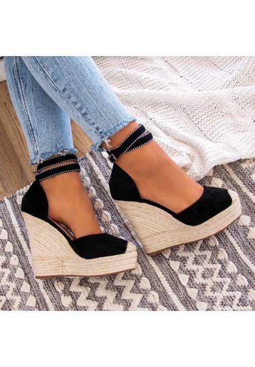 Sandałki Espadryle Koturny Czarne Sammy