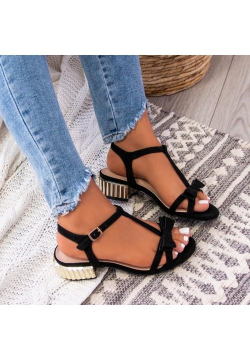 Sandałki Zamszowe Czarne Larice