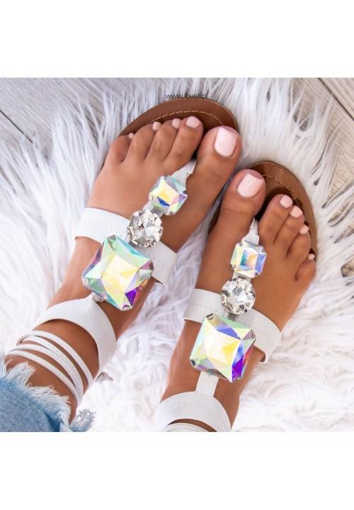 Sandałki Japonki z Kryształkami Białe Alinne