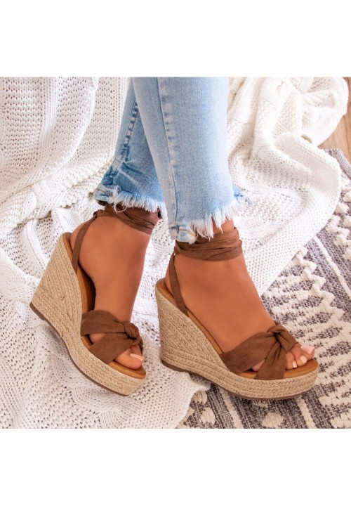 Sandały Espadryle Koturny Khaki Cathy