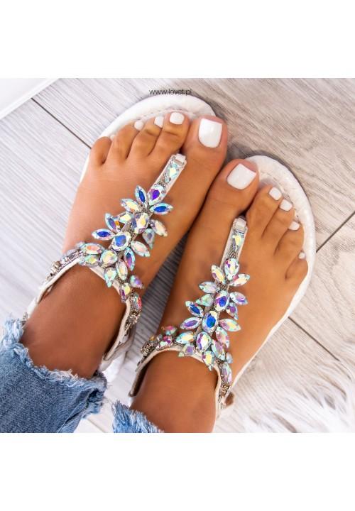 Sandałki Japonki z Kryształkami Srebrne Aida