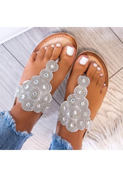 Sandałki Japonki z Kryształkami Srebrne Triana