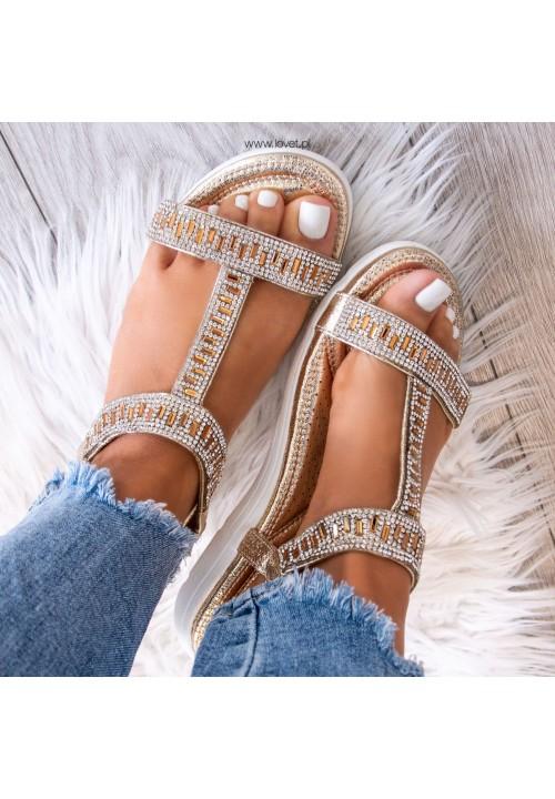 Sandałki z Kryształkami Złote Recta