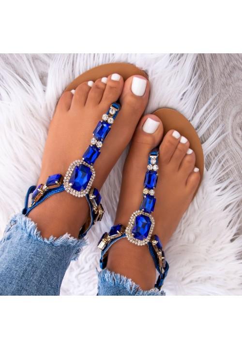 Sandały Japonki Niebieskie z Kryształkami Roxane