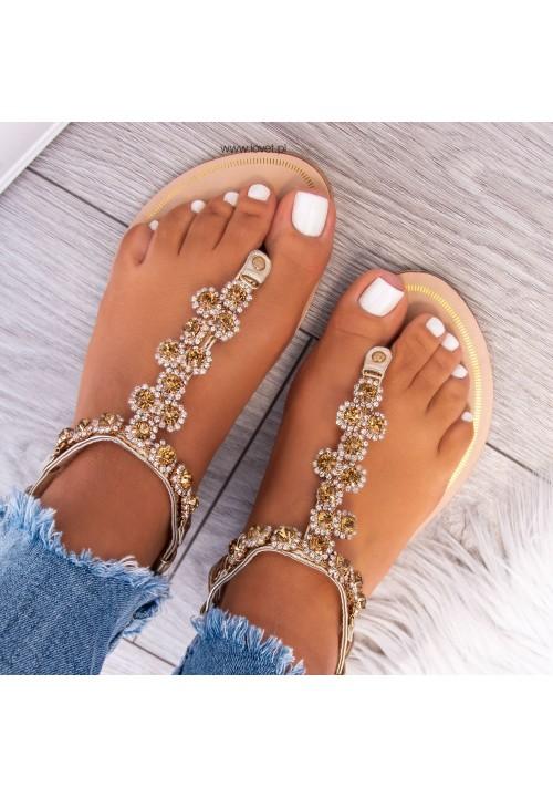 Sandały Japonki z Kryształkami Złote Daria