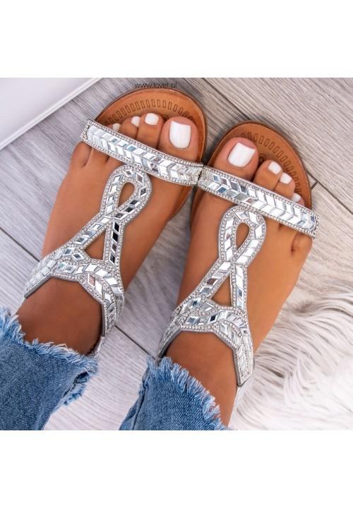 Sandałki Płaskie z Kryształkami Srebrne Quadra