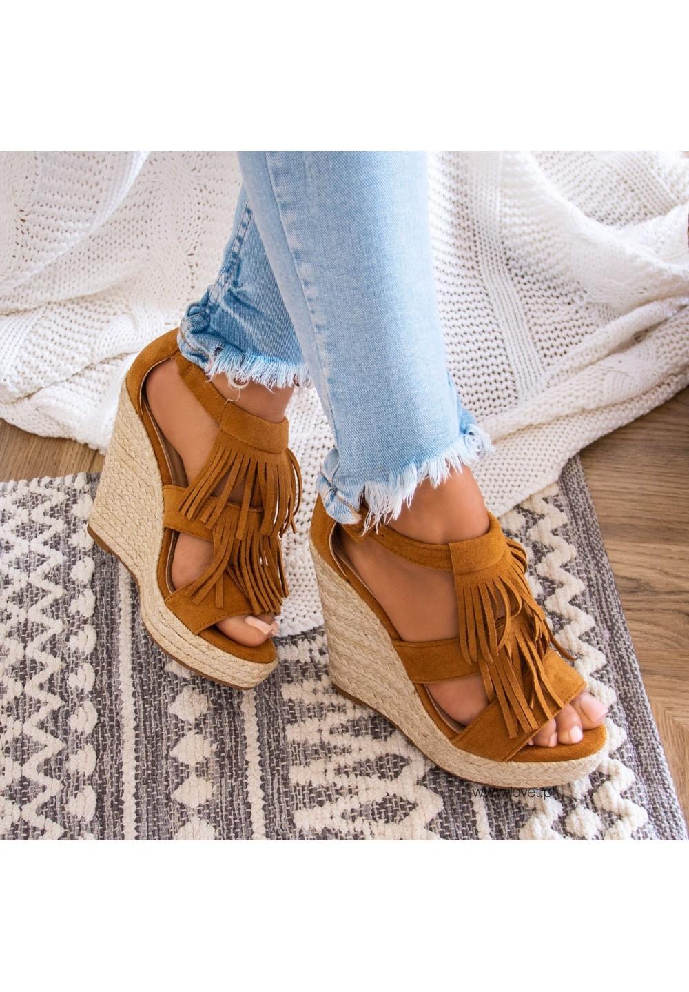 Sandały Espadryle Koturny Camel Ellie
