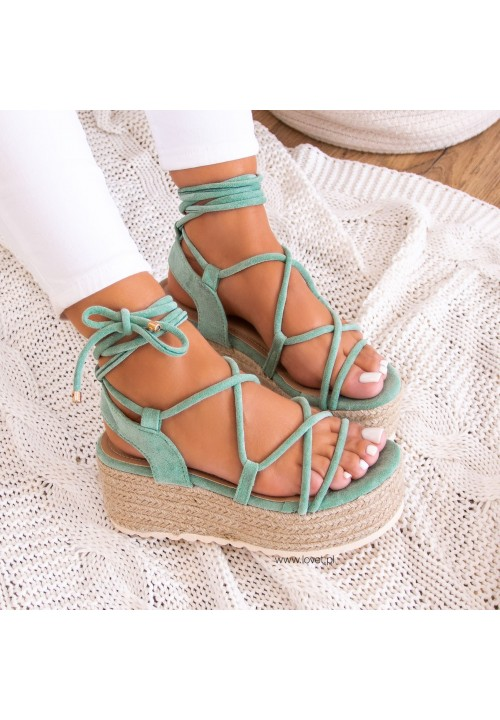 Sandały Espadryle na Koturnie Zielone Irene