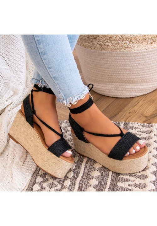 Sandały Espadryle na Koturnie Czarne Felicia