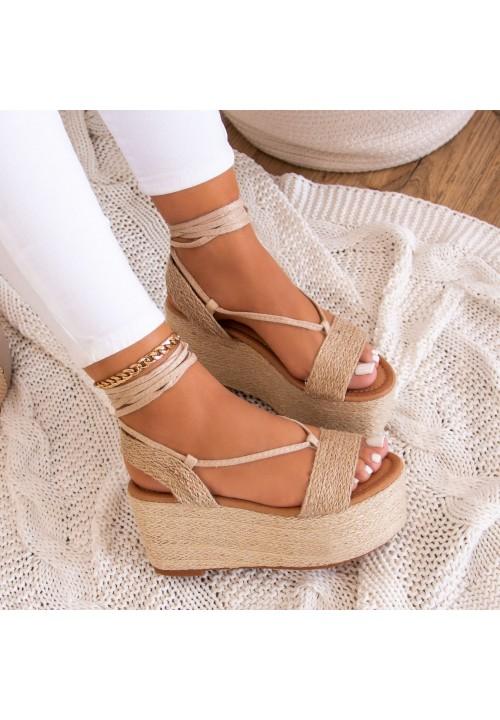 Sandały Espadryle na Koturnie Beżowe Felicia