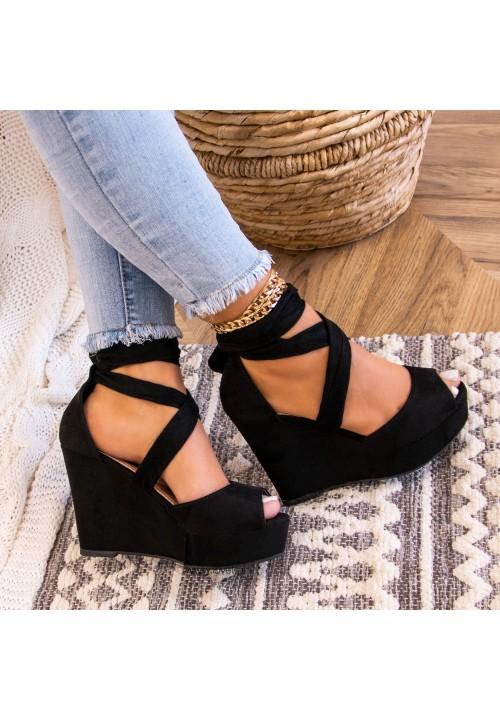 Sandały Espadryle Czarne Zamszowe Cassie