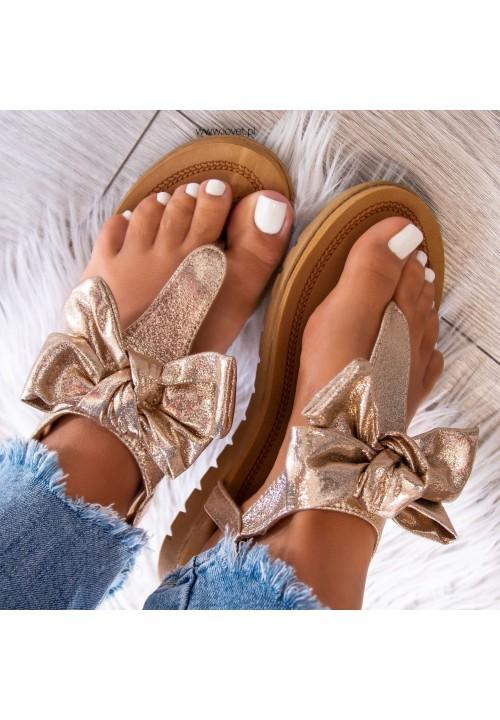 Sandałki Japonki Złote Carolyn