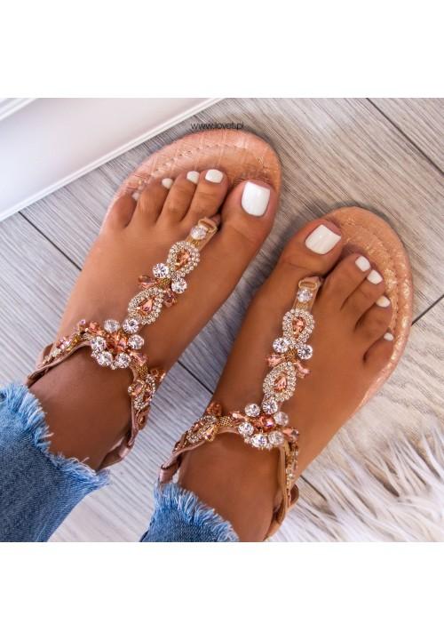 Sandałki Japonki Różowe Złoto  z Kryształkami Vivianne