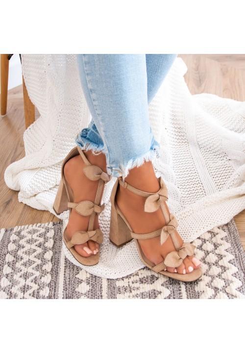 Sandałki na Słupku Zamszowe Beżowe Daphne