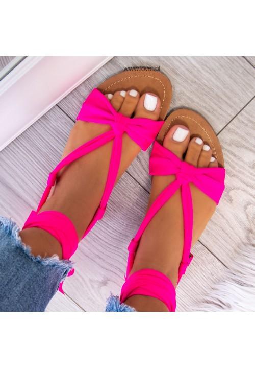 Sandałki Lace Up Neonowy Róż Suzanne