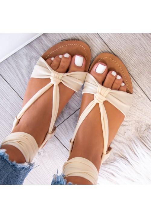 Sandałki Beżowe  Suzanne Lace Up