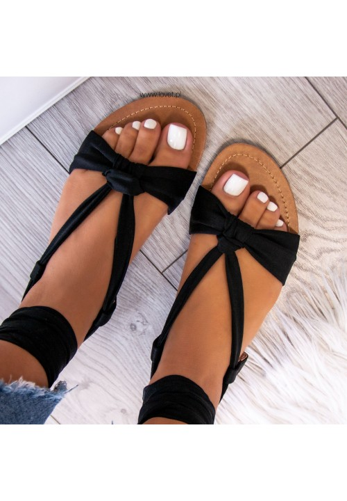 Sandałki Czarne Suzanne Lace Up