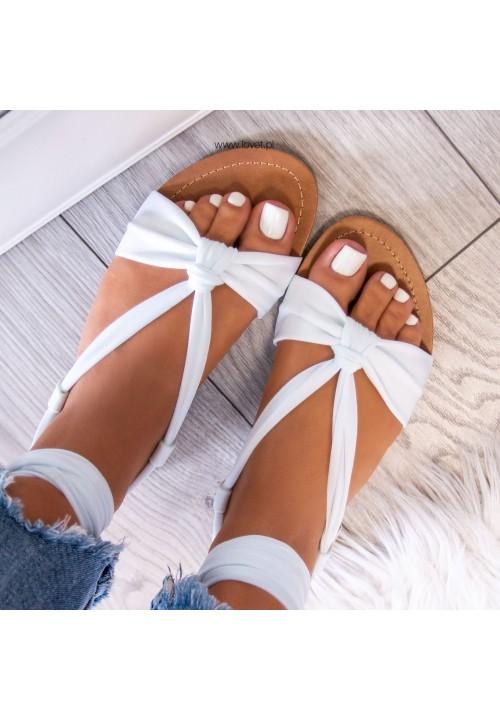 Sandałki Białe Suzanne Lace Up