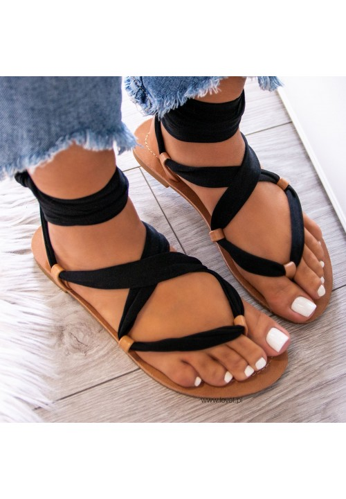 Sandałki Japonki Czarne Lace Up Suzannes