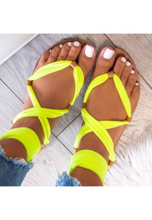 Sandałki Lace Up Żółte Suzannes