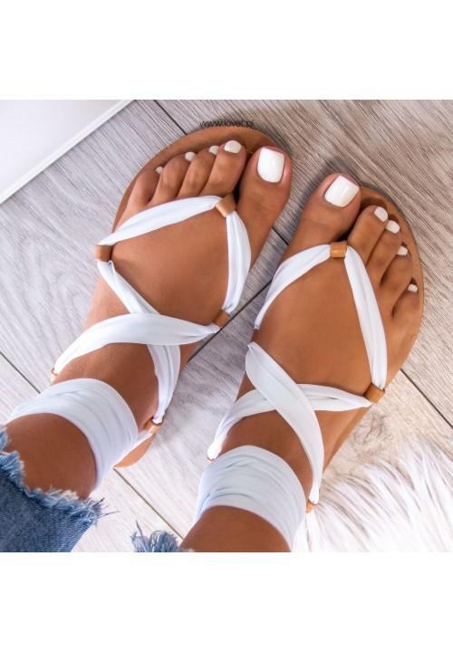 Sandałki Lace Up Białe Suzannes