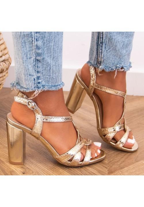 Sandałki na Słupku Złote Katie