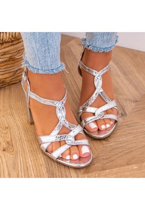 Sandałki na Słupku Srebrne Katie
