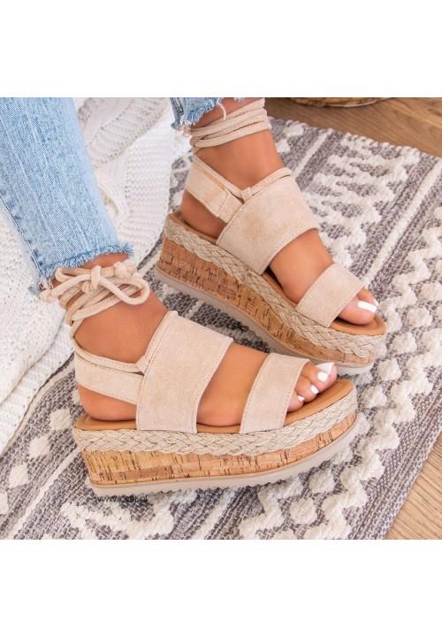 Sandałki Espadryle Zamszowe Beżowe Lucy