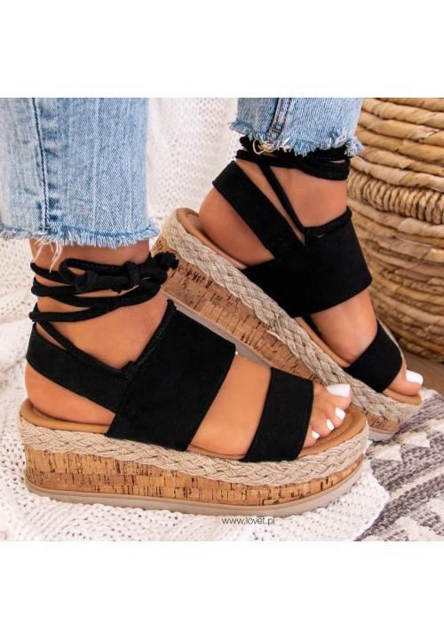 Sandałki Espadryle Zamszowe Czarne Lucy