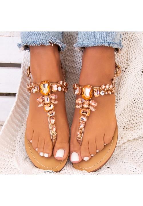 Sandałki Japonki Różowe Złoto Maya