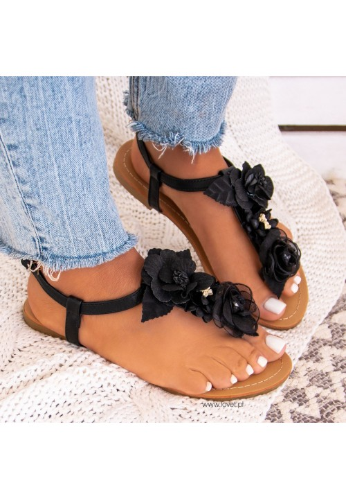 Sandałki Japonki z Kwiatkami Czarne Monica