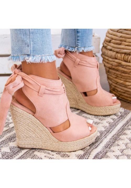 Sandały Espadryle Zamszowe Różowe  Rovena