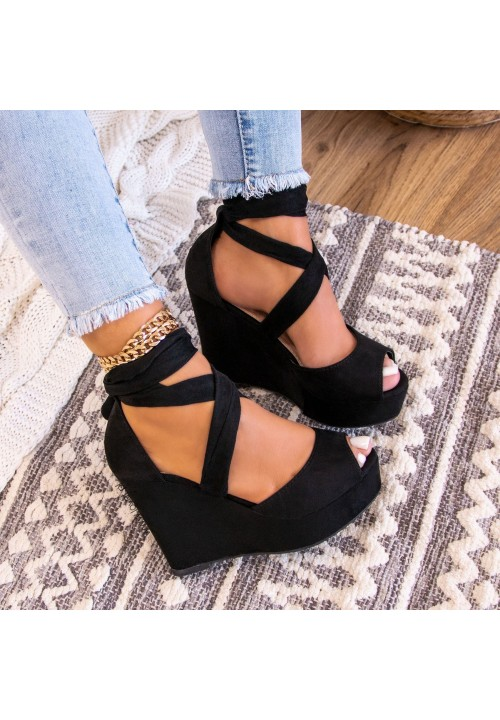 Sandały Espadryle Zamszowe Czarne Cassie