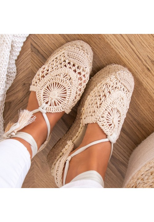 Sandałki Espadryle Beżowe Jolie