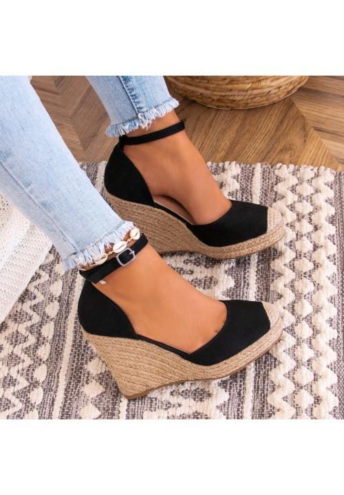 Sandałki Espadryle Zamszowe Czarne Ness
