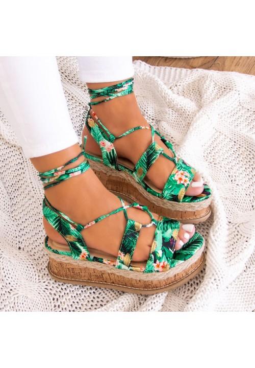 Sandały Espadryle Zielone Lizzie