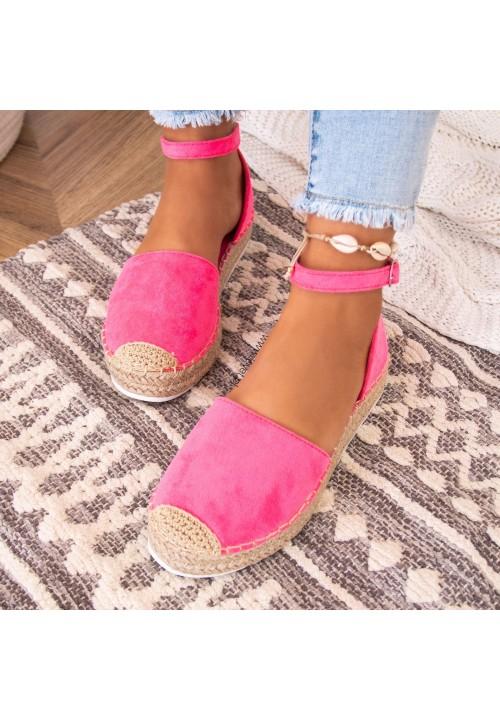 Sandały Espadryle Zamszowe Neonowy Róż Devi