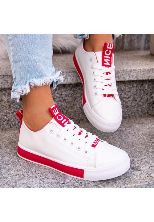 Trampki Sneakersy Biało Czerwone Lucy