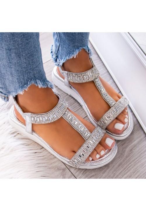 Sandałki z Kryształkami Srebrne Recta