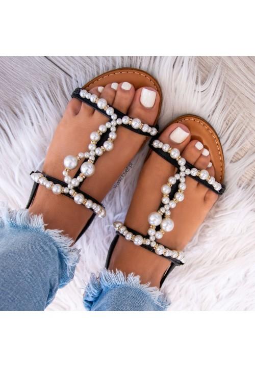 Sandałki z Perełkami Czarne Isabelle