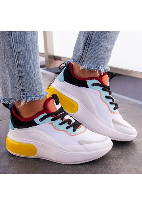 Trampki Sneakersy Biało Żółte Magie