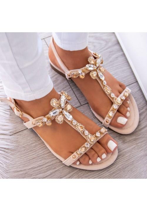 Sandałki Beżowe Z Kryształkami Sophie