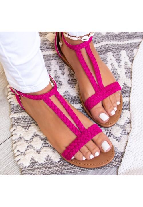 Sandały Fuchsia Zamszowe Diana