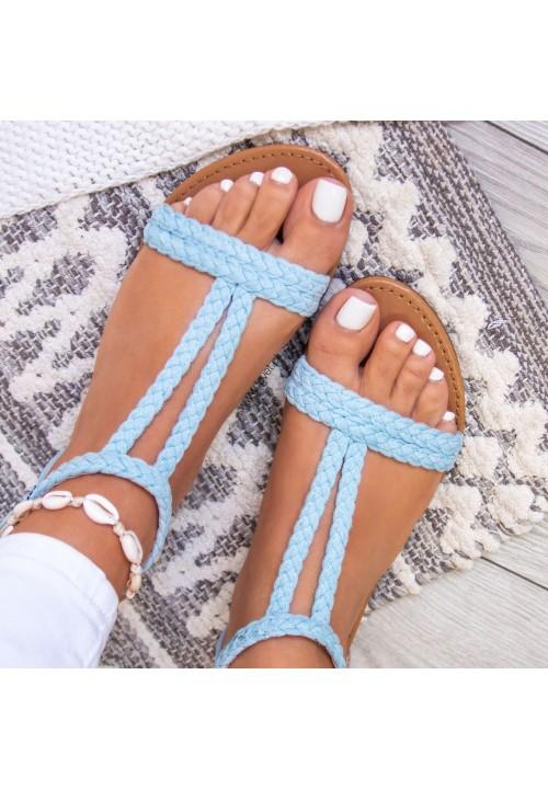 Sandały Zamszowe Jasno Niebieskie Diana
